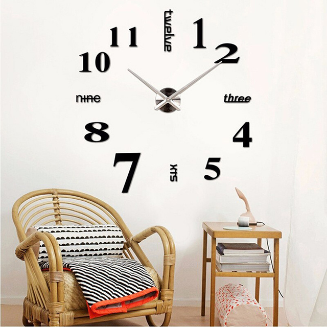 3D Diy Wall Clock Mordern Design Mirror Surface Home Decor
