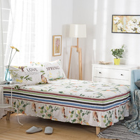 100% cotton Bedskirt Flowers and birds print bedspread twin full queen king size bed skirt mattress protective case/cover