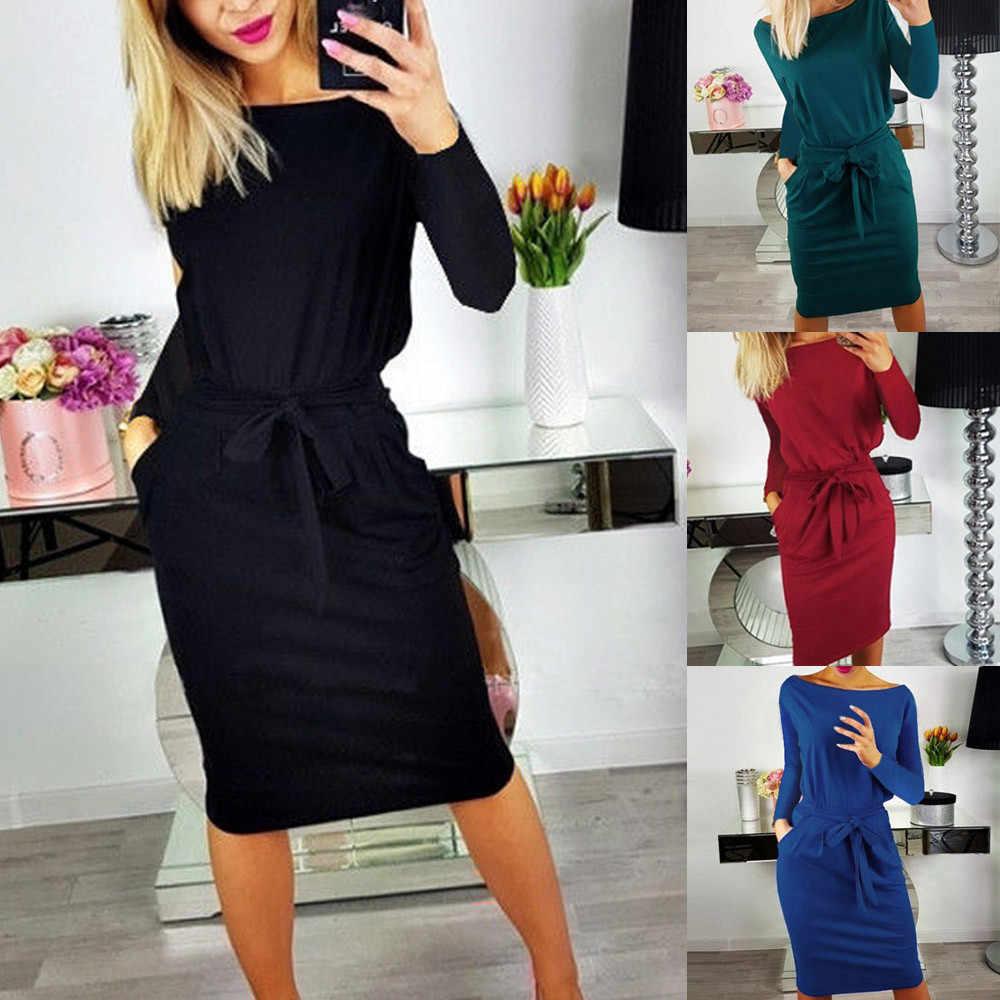 Womail 2018 Fashion Casual multi-color Plus Size Women Lady Casual kieszeń letnia damska z długim rękawem suknia wieczorowa 12 lipca 22