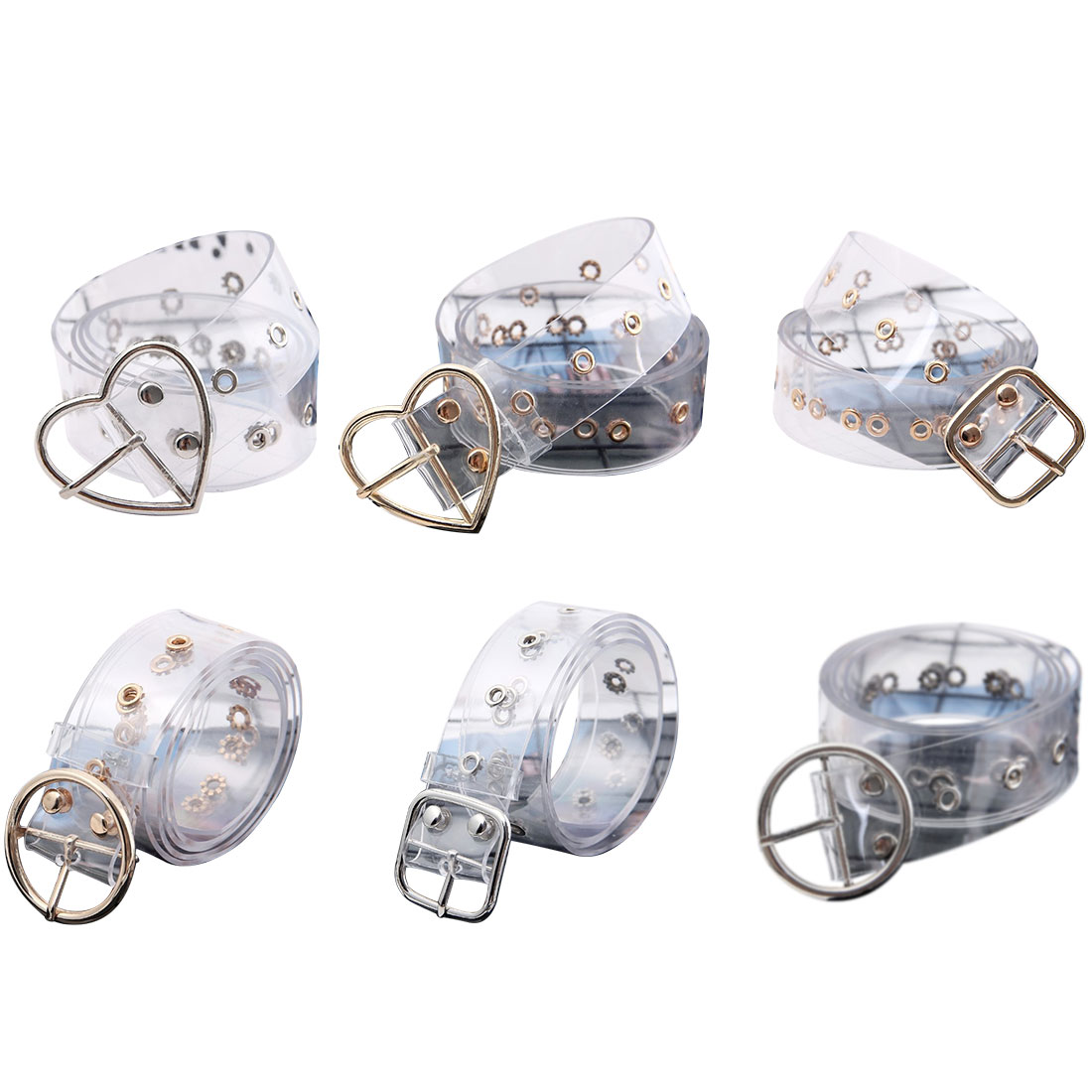 Transparent waistband resin plastic   belt   ladies round buckle pin buckle   Belt   Fashion tide all-match Casual accessories