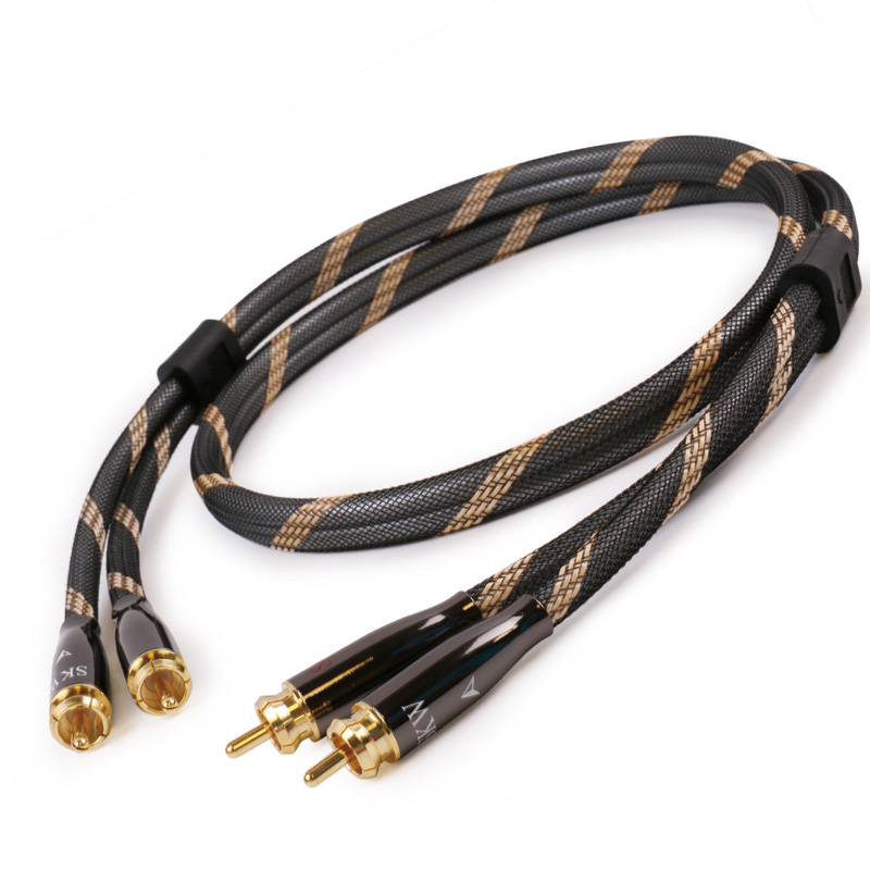 SKW hi-end hi-fi Stereo Digital Coaxial Audio cable 2 RCA to 2 RCA Male to Male for speaker CD amplifier Subwoofer TV Hometheatr  skw audio cable speaker wire male to male hi end gold plated jack nylon cable lock adapter connector for hifi amplifier 5 16ft