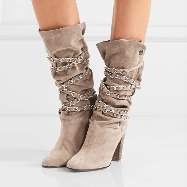 SHOOEGLE Punk Style Cross-tied Chains Motorcycle Boots Lace-Up High Heels Women Mid-Calf Boots Block Heels Woman Tall Boots ethnic style fringe and criss cross design mid calf boots for women