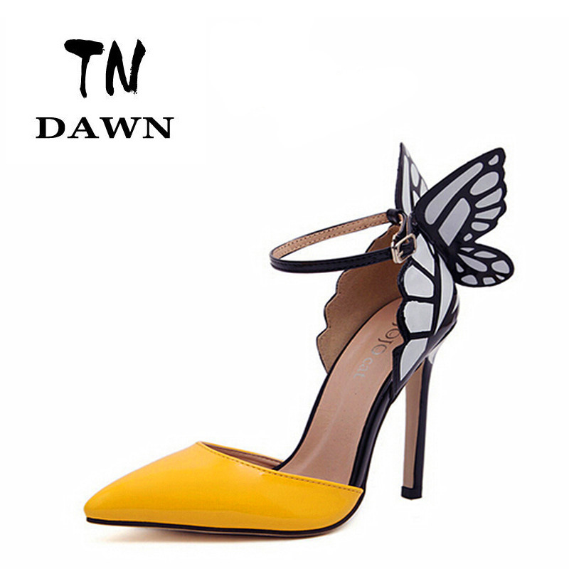 51469db2f65a ... Sophia Vampire Diaries Shoes High-heeled Pumps Butterfly Wings Heels  Patent Leather Women Sandals Ankle