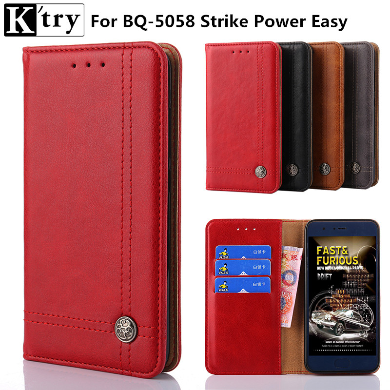 K'try For BQ 5058 Strike Power Easy Case Cover Vintage Wallet Flip Leather Case Coque for BQ-5058 BQ5058 Cover with Kickstand