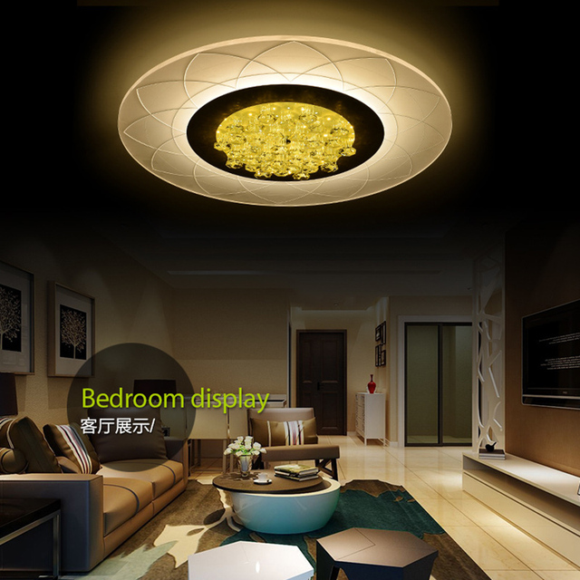 Led Crystal Ceiling Lights Modern Acrylic Wireless Living Room Bedroom Lamp Plafonnier Design Home Kitchen