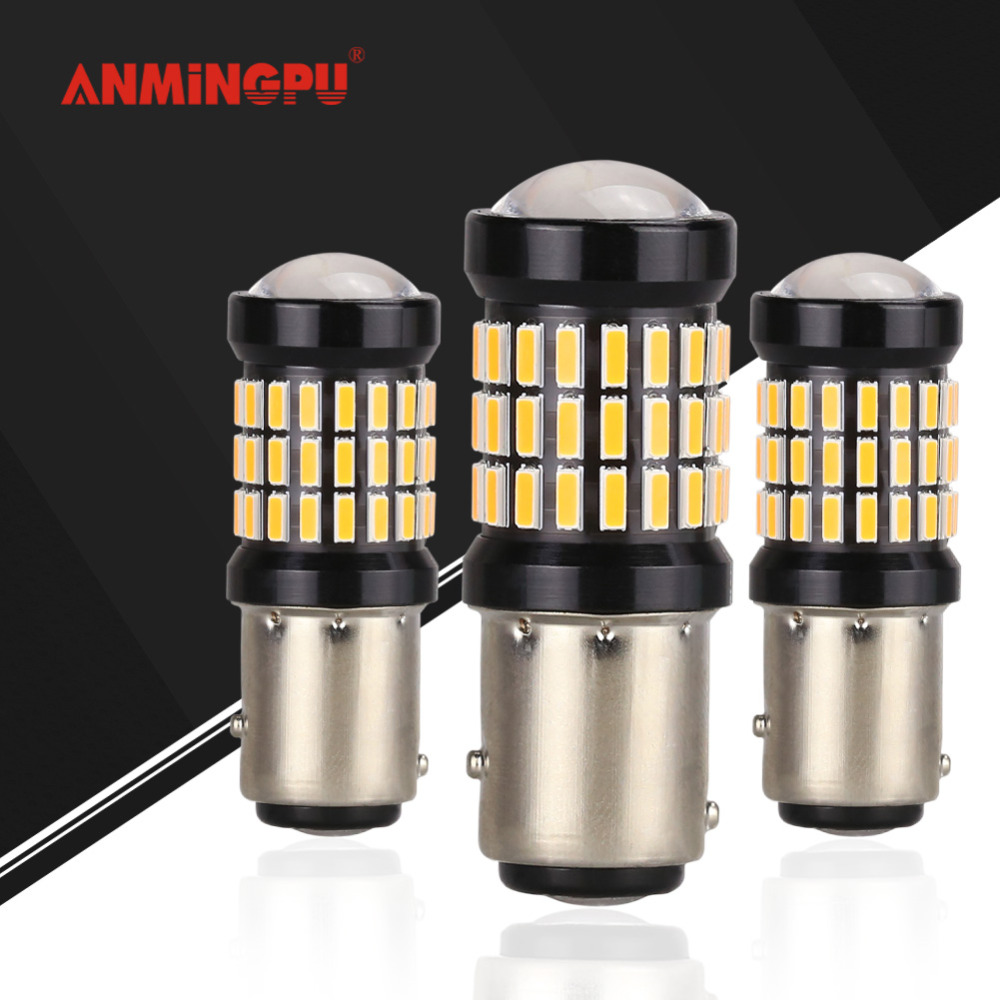 ANMINGPU 2x P21 5w Led Bulb Car Signal font b Lamp b font 1157 LED Canbus
