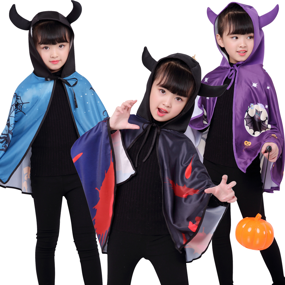 Free Shipping Halloween Party Carnival Pumpkin Cape Cosplay Costumes For Kids Thin Vampire Cloak Magican Dance Performance Girl