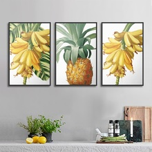Nordic Simple Banana Pineapple Fruit Painting Fresh Canvas Prints for Kitchen Decoration Wall Art Poster Modular Pictures