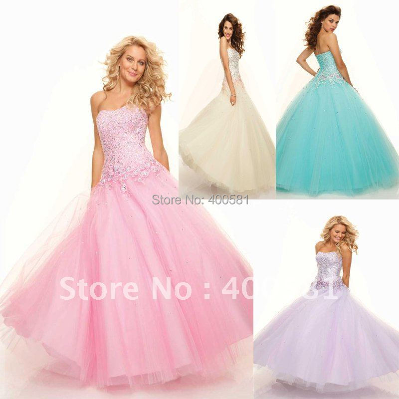 Charming Strapless Sweetheart Ball Gown Beaded Sequins Flowers Trim ...