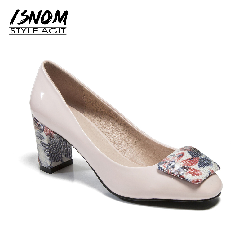 ISNOM Printing High Heels Women Pumps Square Toe Square Heels Shallow Footwear New Spring Fashion Genuine Leather Ladies Shoes plus size 34 46 fashion high heels shoes women pumps square heel pointed toe dress pumps shallow party stilettos ladies footwear