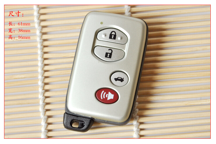 Keyless Entry 4 Buttons Smart Card Remote Key Shell Case For Toyota Crown Corolla RAV4 C ...