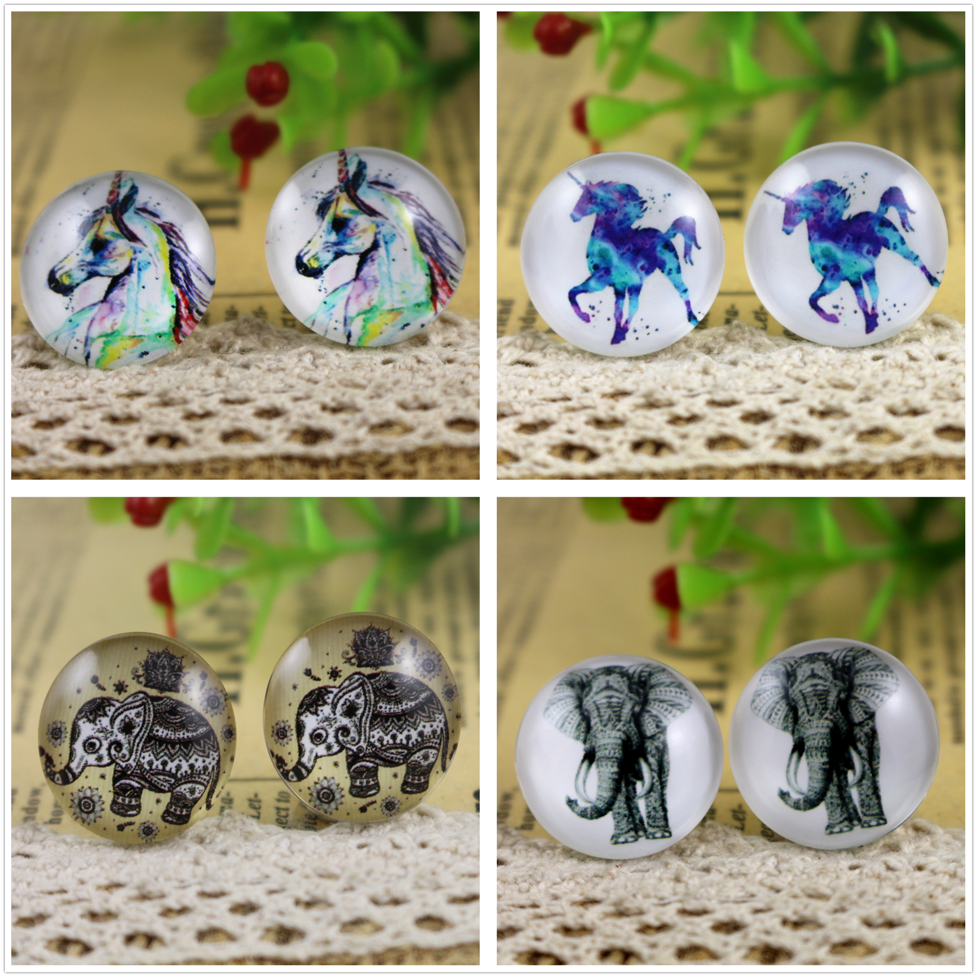 Hot Sale 10pcs 20mm Handmade Horse and elephant Photo Glass Cabochons Pattern Domed Jewelry Accessories SuppliesHot Sale 10pcs 20mm Handmade Horse and elephant Photo Glass Cabochons Pattern Domed Jewelry Accessories Supplies