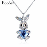 ECCOSA Cute Rabbits With Love Heart Necklaces Pendants Pave Crystal From Swarovski Statement Necklace For Wonder