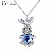 Eccosa Cute Rabbits With Love Heart Necklaces & Pendants Pave Crystal From Swarovski Statement Necklace For Wonder Women Jewelry(China)