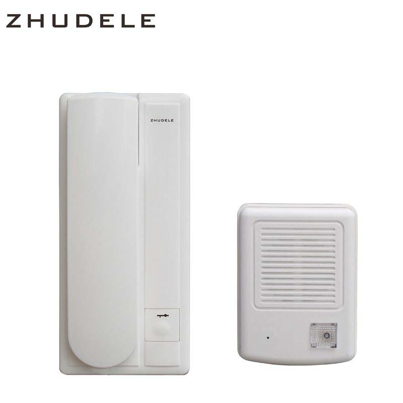 ZHUDELE New Arrival 2-Wired Audio Doorphone, Home Security Intercom System Doorbell w/t Intercom & Unlocking Functions ZDL-3208