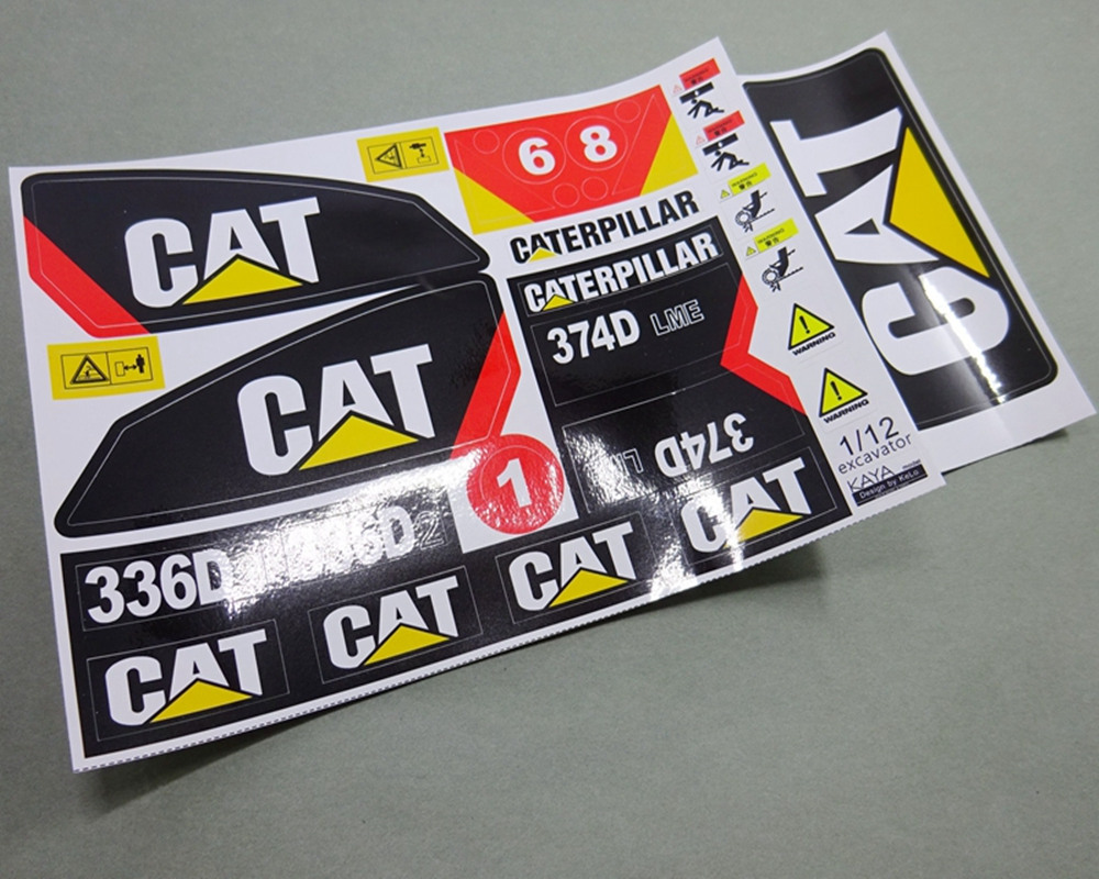 New rc excavator waterproof adhesive sticker decals for caterpillar 1/12th scale rc excavator 336D2 374D tractor trailer truck