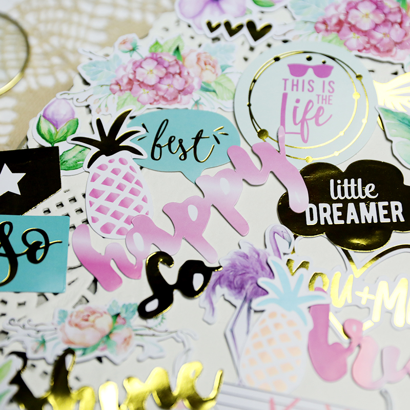 48pcs Europe style Hot stamping fresh Flamingo pineapple words Decorative Sticker DIY Scrapbooking Label planner Album Sticker48pcs Europe style Hot stamping fresh Flamingo pineapple words Decorative Sticker DIY Scrapbooking Label planner Album Sticker