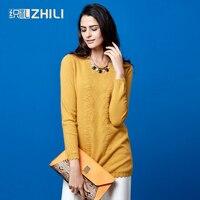 2017 кашемировый свитер женский О образным вырезом средней длины универсальные классический свитер вышивкой пуловер женские