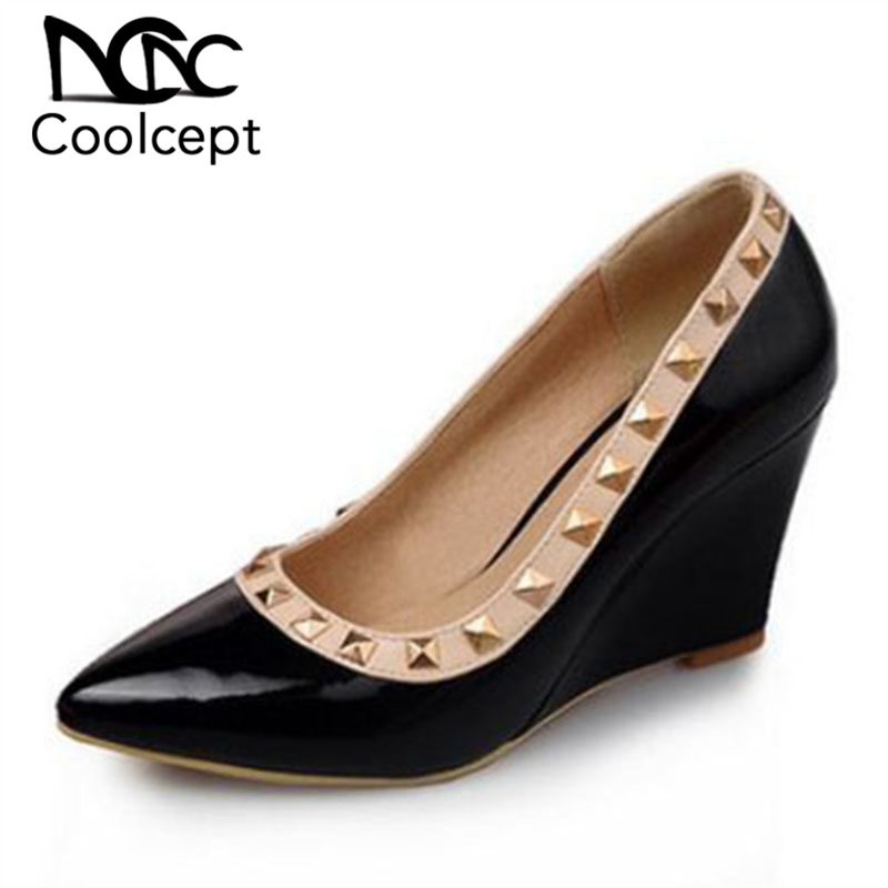 Coolcept New Design Women High Wedges Shoes Rivet Pointed Toe Wedges Pumps Sexy Fashion Party Shoes Women Footwear Size 33-43