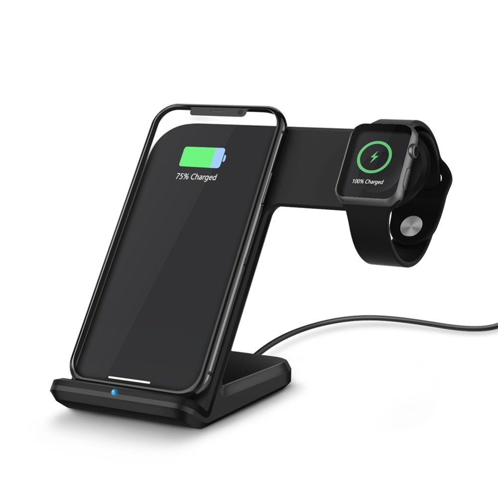 FACEVER 2 in 1 Qi Wireless Charging Dock Station Fast Charger For Apple Watch Series 1 2 3 4 iPhone X XS MAX 8 8 Plus Samsung