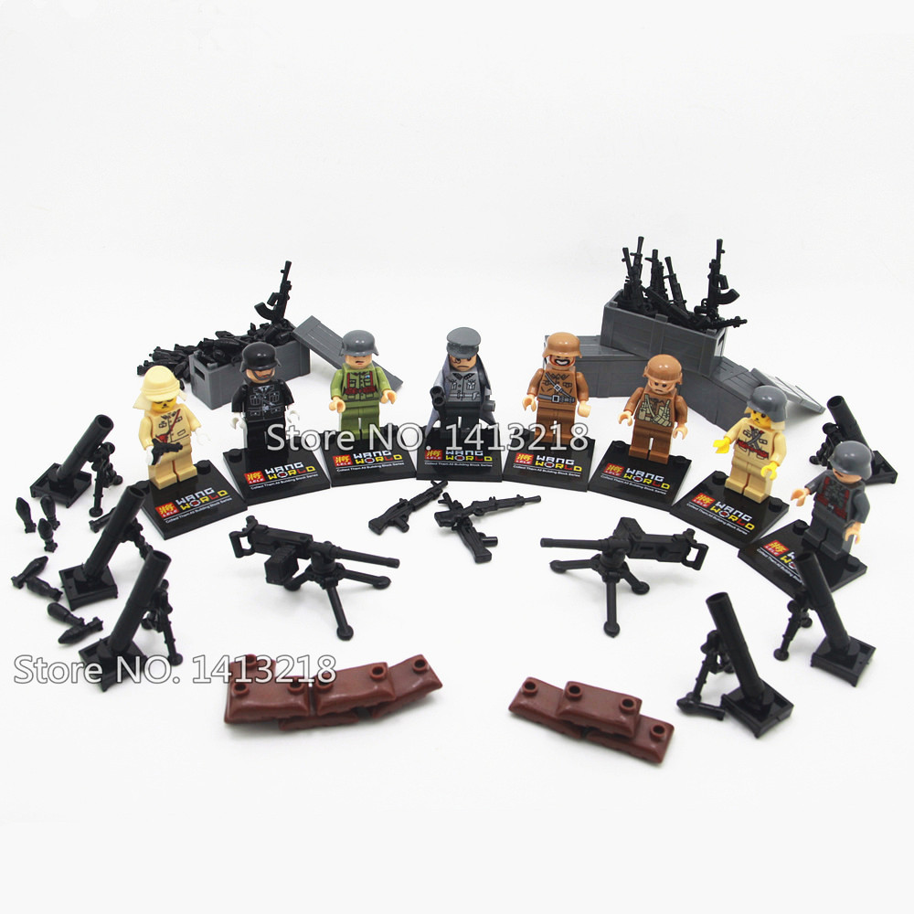 8pcs Soldier World War 2 Military Weapon Gun SWAT German Army Navy Building Blocks Figures Boy Educational Toy Gift Children xinlexin 317p 4in1 military boys blocks soldier war weapon cannon dog bricks building blocks sets swat classic toys for children