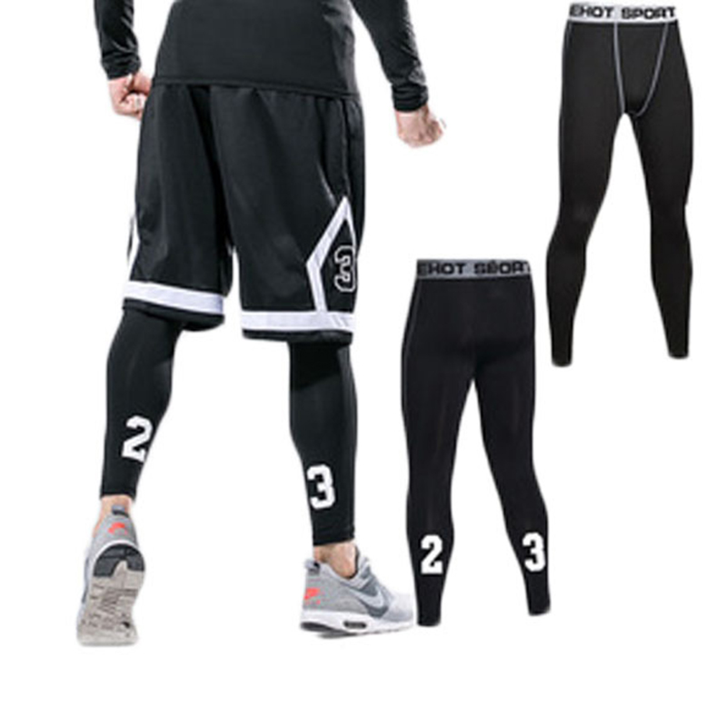 2018 New Mens Compression Pants Quick Dry Fitness Tight Running Pants High Elasticity Stovepipe Hight Gym Running Sportswear