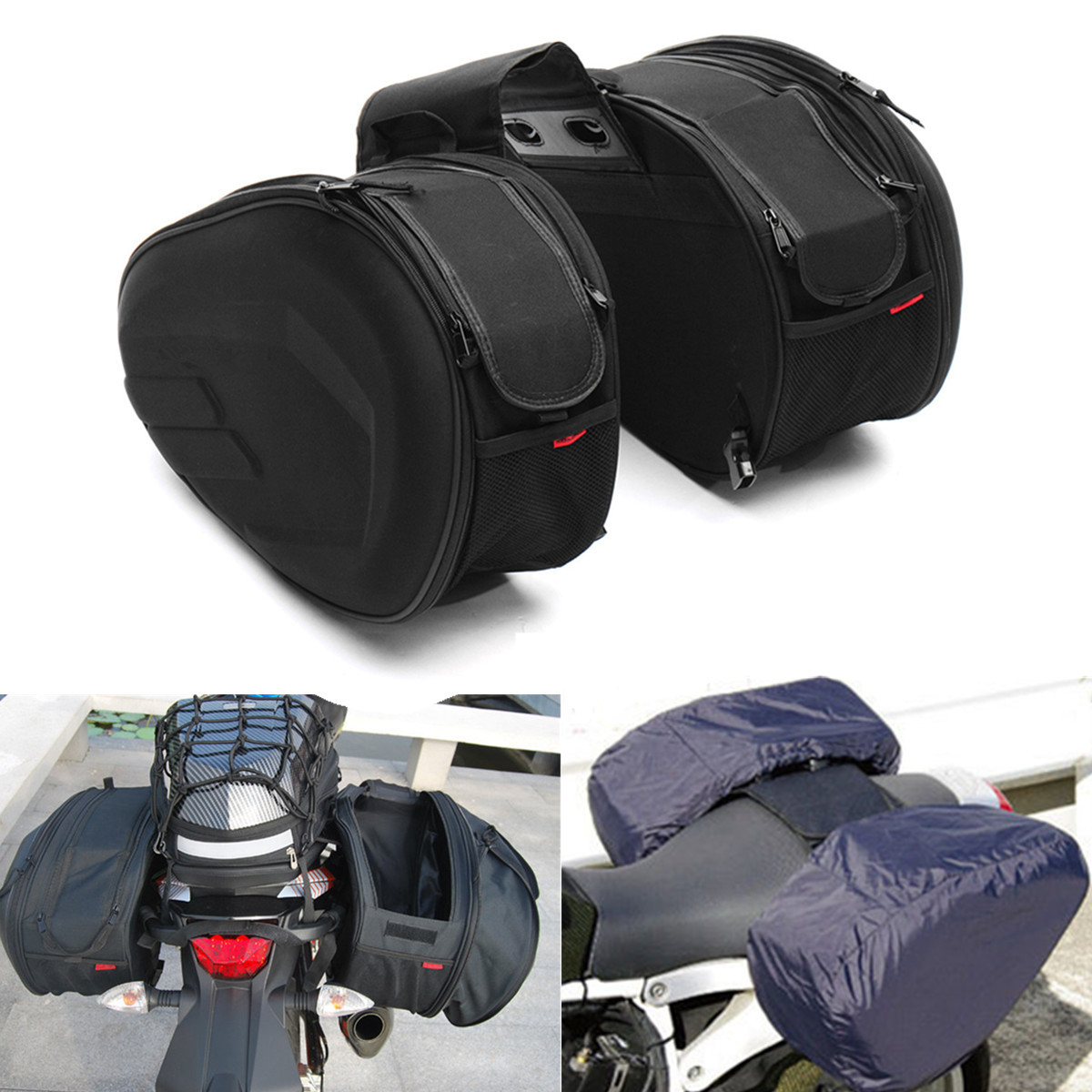 цена на Autoleader 58L Large Capacity Multi-use Expandable Motorcycle Rear Seat Luggage Saddle Bag Waterproof Motorcycle Saddle bags