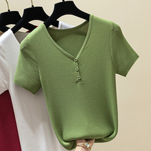 Shintimes 2019 Summer Casual Knitted Button T Shirt Women Short Sleeves Solid T-Shirt Sexy V Neck Tops 6 Colour Tee Femme
