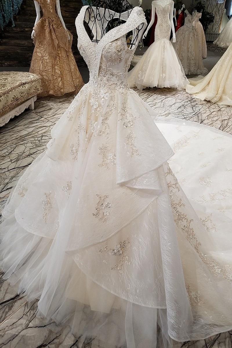 LS22410 V neck two layers big skirt lace wedding dress v neck cap ...