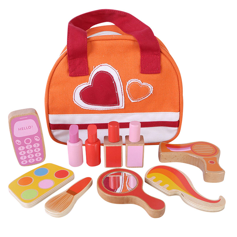 Children Wooden Simulation Beauty Makeup Play Toys Dressing Table Girl Cosmetics Set Gifts New