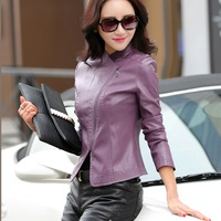 New Design V Neck Women Leather Jacket Spring Autumn Suede Leather Coat Slim Fit Short Zipper