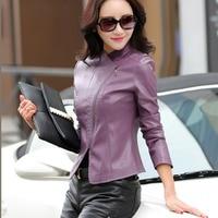 New Design V Neck Women Leather Jacket Spring Autumn Suede Leather Coat Slim Fit Short Zipper