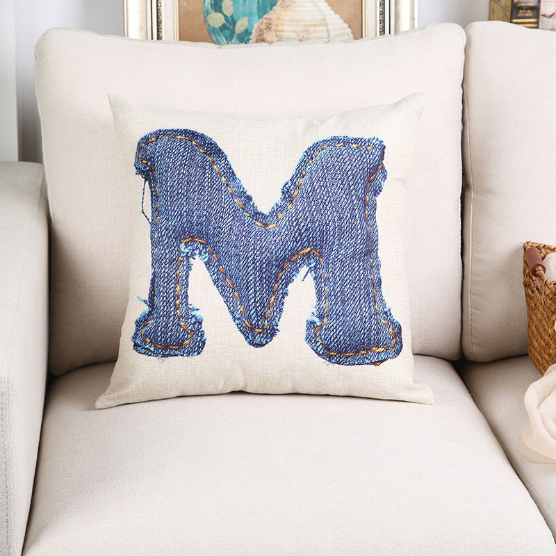 WL Candy L Nordic Style Cushion Cover Letter Denim Home Decoration ...