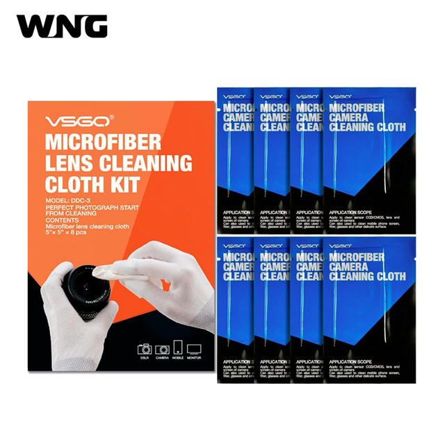 VSGO DDC-3 8PCS Microfiber Lens Cleaning Cloth for SLR DSLR Cameras Microscope and Glasses