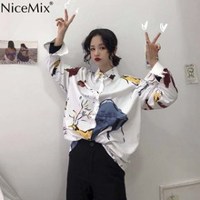 NiceMix New Krean style oversize shirts for women fashion funny printed loose blouse ladies office 2019 tops summer