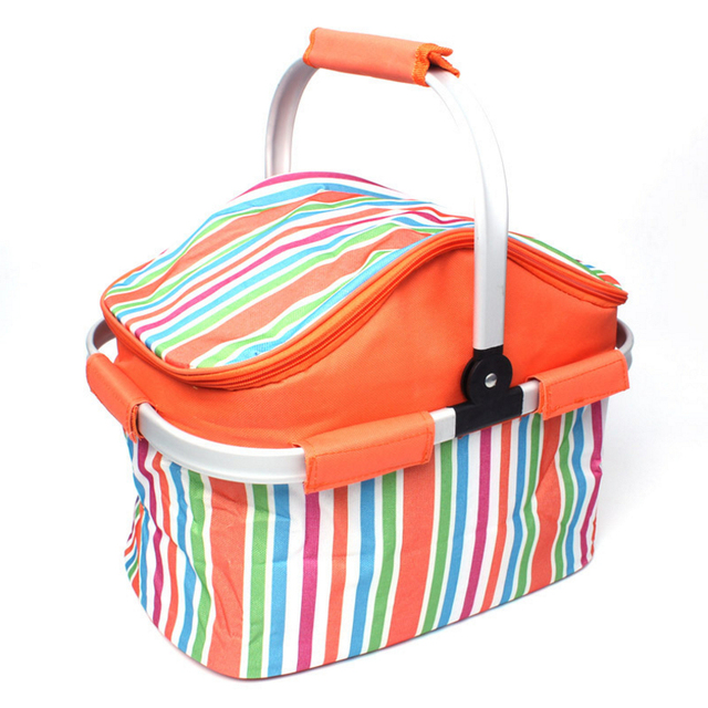 Camping pliable Panier à pique-nique Sac à lunch doux Sacs de pique-nique isotherme, Orange