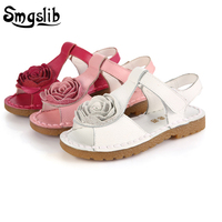 Smgslib Genuine Leather Sandals Princess Flower Soft Bottom Shoes School Girls 2017 Summer Red White Pink