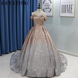 Image 2 - Świecący Ombre szampana srebrny cekin suknie balowe 2020 dubaj Glitter suknia balowa Party Dress Sweetheart sąd pociąg suknie wieczorowe