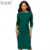 38418beb90edce ICHOIX Spring Winter Ladies Dress 2019 Work Pencil Dress Long Sleeve Midi  Slim Women Dresses Office