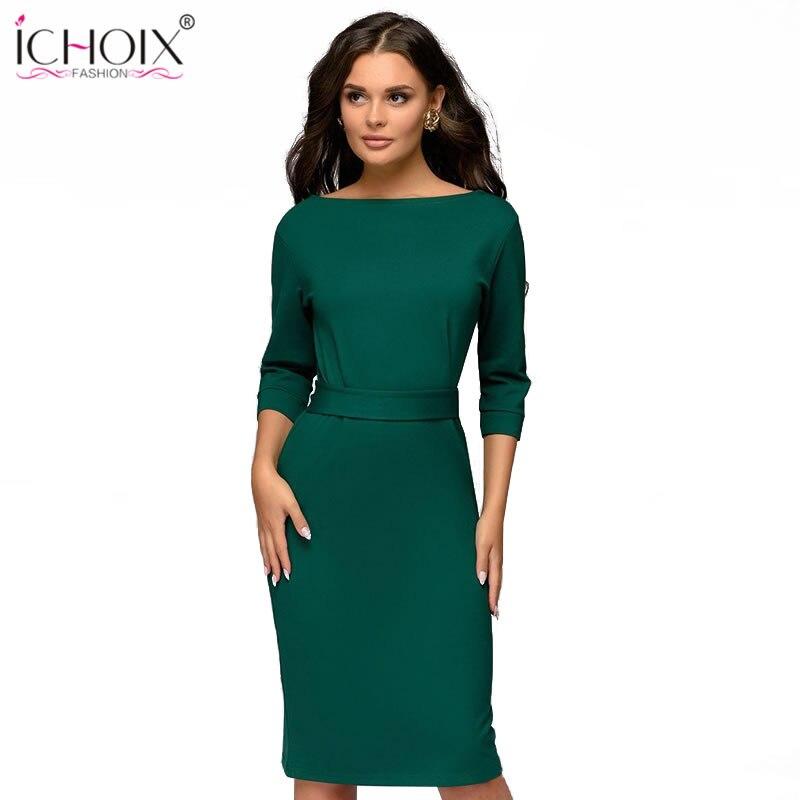 ICHOIX Spring Winter Ladies Dress 2019 Work Pencil Dress Long Sleeve Midi Slim Women Dresses Office Dress Bodycon Sashes Vestido