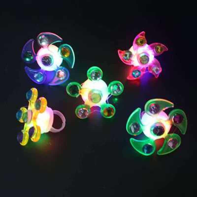 Fidget Spinner Light Up Ring Stress Relief Fidget Toys Supplies Party Favors
