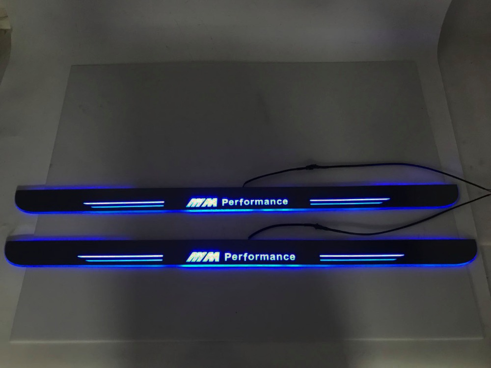 WOOBEST Waterproof Ultrathin Acrylic LED door sill for BMW E46 M3 coupe Led moving door scuff plate, Pathway light, 2pcs woobest acrylic led door sill for jaguar xf 2010 15 jaguar xj xjl 2010 15 led moving door scuff plate pathway light