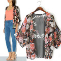 2015 Mulher Verão Floral Xale Kimono Boho Chiffon Cardigan Solto Jaqueta Casaco Corta-vento Do Vintage Chiffon Blusa