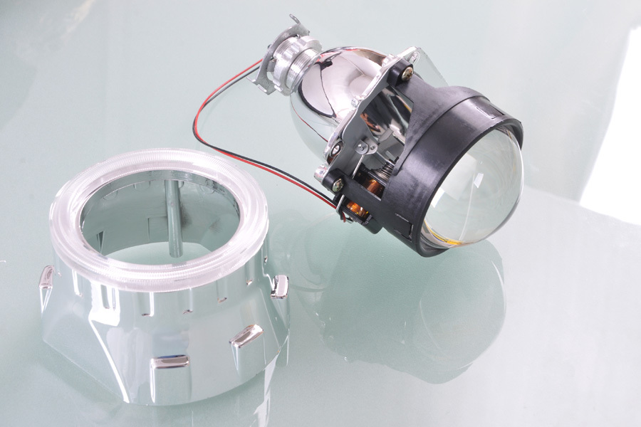 RETROFIT HEADLIGHTS COVER 2.5For H1 MINI PROJECTOR LENS SILVER GATLING GUN SHROUD [QP379]