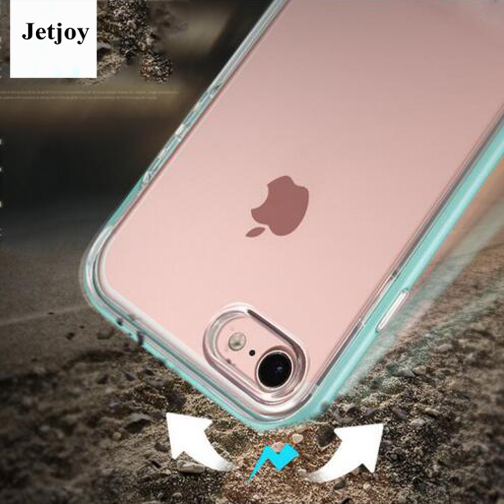 JETJOY Clear Craystal Enjoy Shield Dual Layer Back Protective Cover Case For Apple iPhone 7 Cases Simple Gloosy Kickstand Smooth