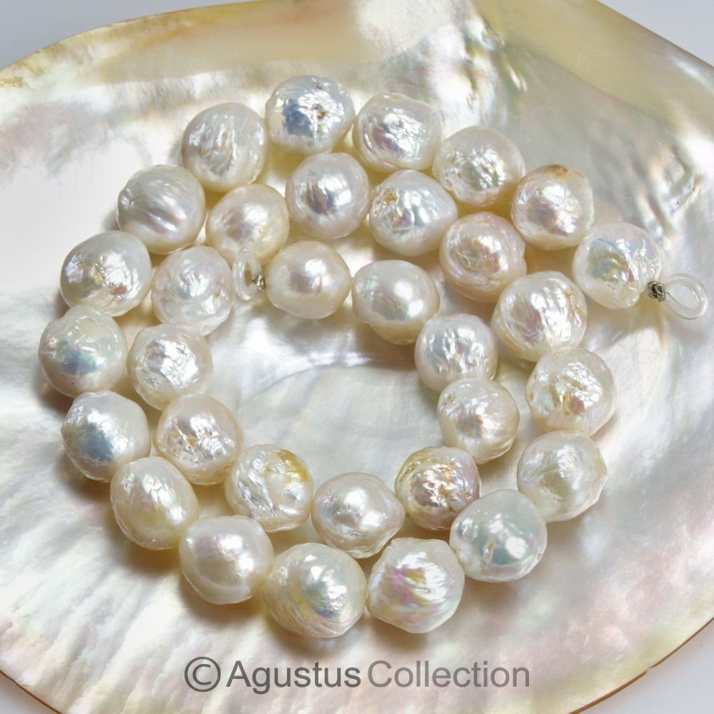 White FRESHWATER PEARLS 15 inch STRAND Nucleated Baroque loose-in Beads from Jewelry & Accessories