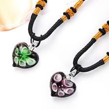 2019 Ethnic Heart-shaped Inner Flower Murano Glass Pendant Necklace Europe New Sweater Chain Heart for Women