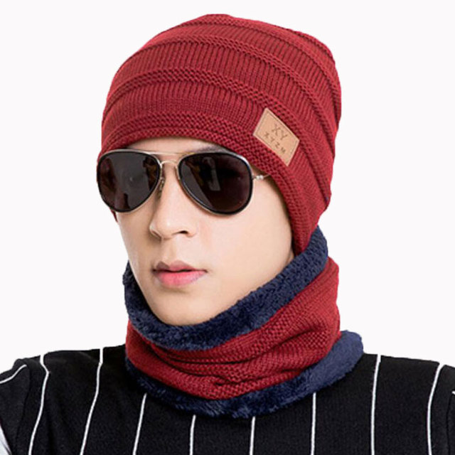 782230ad7b8 Winter Men Hat And Scarf Set For Women Male Ring Scarves Cap Knit Beanies  Icon Hat