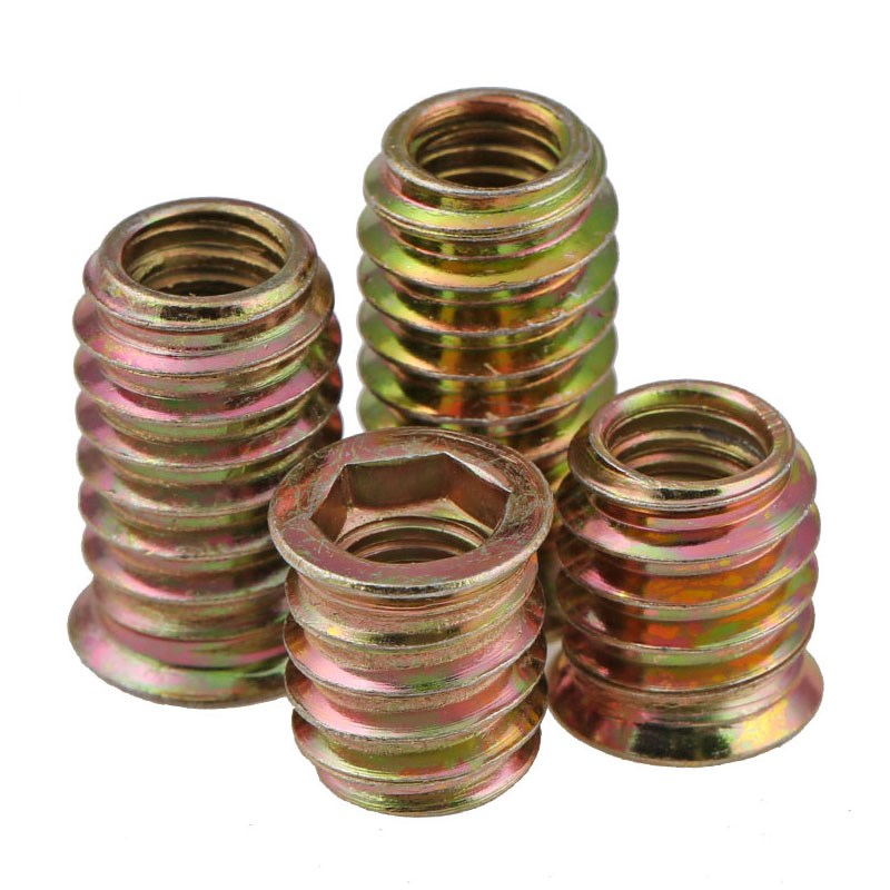 5/10Pcs M4 M6 M8 M10 carbon steel Thread For Wood Insert Nut Flanged Hex Drive Head Furniture Nuts-in Nuts from Home Improvement