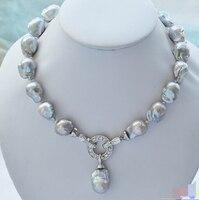 xiuli 003528 Rare gray baroque keshi Reborn necklace pendant